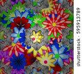 vector abstract flower... | Shutterstock .eps vector #595913789