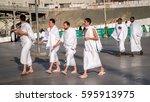 mecca  saudi arabia   jan 30 ... | Shutterstock . vector #595913975