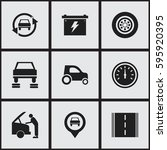 set of 9 editable car icons....