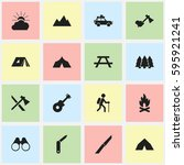 set of 16 editable trip icons.... | Shutterstock .eps vector #595921241