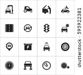 set of 16 editable car icons.... | Shutterstock .eps vector #595922381