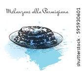 melanzane alla parmigiana... | Shutterstock .eps vector #595930601