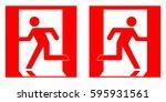 emergency fire exit left ... | Shutterstock .eps vector #595931561
