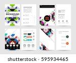 memphis geometric background... | Shutterstock .eps vector #595934465