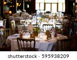 dining table set for a wedding... | Shutterstock . vector #595938209