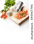 basic ingredients for a lot of... | Shutterstock . vector #595947794