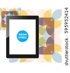 tablet pc icon with memphis... | Shutterstock .eps vector #595952414