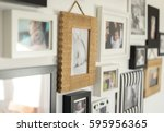 white wall with photos of the... | Shutterstock . vector #595956365