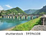 famous bridge on the drina in... | Shutterstock . vector #59596108
