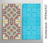 vertical seamless patterns set  ... | Shutterstock .eps vector #595961927