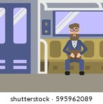 man with a beard in the subway... | Shutterstock .eps vector #595962089