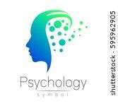 modern head sign of psychology. ... | Shutterstock .eps vector #595962905
