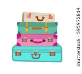 cartoon colorful luggage vector ... | Shutterstock .eps vector #595972814