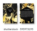 a leaflet template with a gold... | Shutterstock . vector #595973195