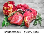 different types of meat beef on ... | Shutterstock . vector #595977551