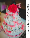 decorative cake made of flowers ... | Shutterstock . vector #595986689