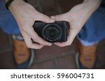 hipster with camera | Shutterstock . vector #596004731
