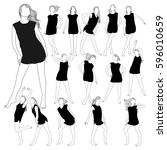 collection of silhouettes of... | Shutterstock .eps vector #596010659