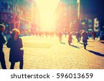 crowd of anonymous people... | Shutterstock . vector #596013659