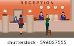 hotel reception interior with... | Shutterstock .eps vector #596027555