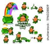 leprechauns big set. st.... | Shutterstock .eps vector #596028809