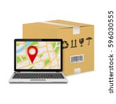 shipping parcel tracking order... | Shutterstock .eps vector #596030555