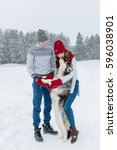 young caucasian couple in love...   Shutterstock . vector #596038901
