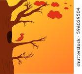 illustration of a bird in a... | Shutterstock .eps vector #596039504