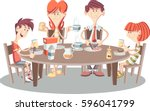 cartoon family having breakfast.... | Shutterstock .eps vector #596041799