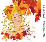 vector autumn girl   Shutterstock .eps vector #59604454