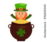 leprechaun happy tossing gold... | Shutterstock .eps vector #596045345