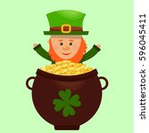 leprechaun happy tossing gold... | Shutterstock .eps vector #596045411
