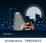 taxi car standing under the... | Shutterstock .eps vector #596050655