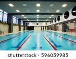 interior of a public swimming... | Shutterstock . vector #596059985