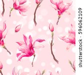 vector floral spring seamless... | Shutterstock .eps vector #596062109