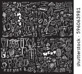 hand drawn food elements. set... | Shutterstock .eps vector #596063981