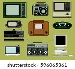 collection of old appliances ... | Shutterstock .eps vector #596065361
