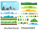 trendy set of different flat... | Shutterstock .eps vector #596069885