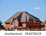 roof metal sheets. modern types ... | Shutterstock . vector #596078225