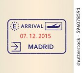 madrid passport stamp. travel... | Shutterstock .eps vector #596078591