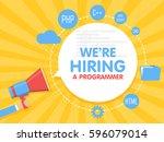 we hire a programmer. megaphone ... | Shutterstock .eps vector #596079014
