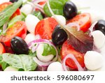 vegetable salad with mini... | Shutterstock . vector #596080697