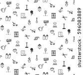 garden tools line icons vector... | Shutterstock .eps vector #596083889