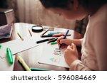 little girl rikuet flomesterami ... | Shutterstock . vector #596084669
