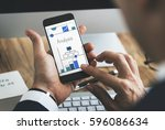 man working on digital device... | Shutterstock . vector #596086634