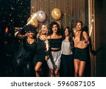 shot of group of young women... | Shutterstock . vector #596087105