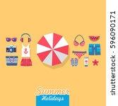 summer holidays on beach vector ... | Shutterstock .eps vector #596090171
