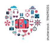 set of flat icons for summer... | Shutterstock .eps vector #596090201