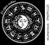 13 signs of the zodiac... | Shutterstock . vector #596091125
