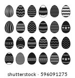 set of black and white easter... | Shutterstock .eps vector #596091275